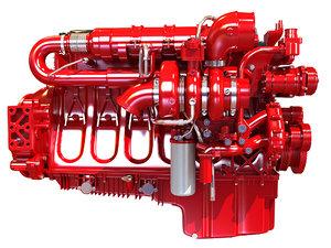 3D heavy-duty truck engine