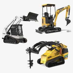 3D mini construction vehicles rigged