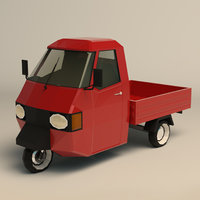 Low Poly Three Wheeled Pickup 02