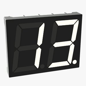 segment digit lcd double 3D model