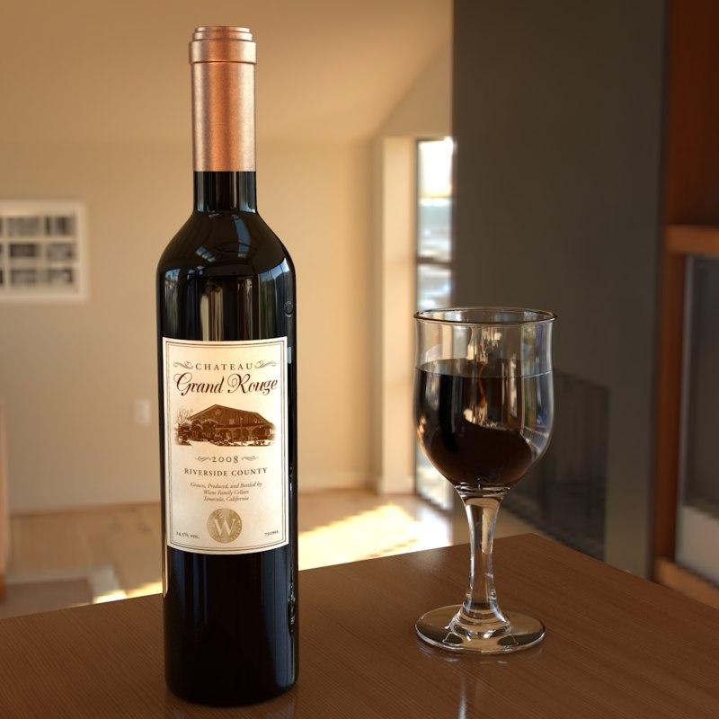 3D wine bottle glass model