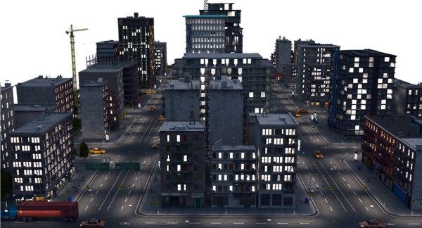 3D night city a1 model