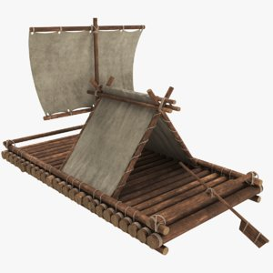 3D real wooden raft wood model