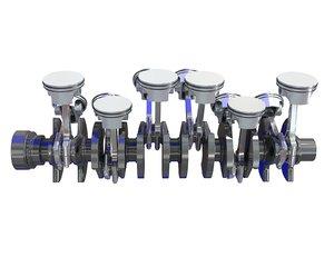 3D v12 engine cylinders