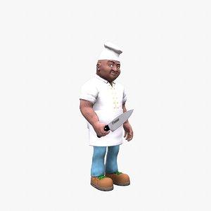 3D model cook chef