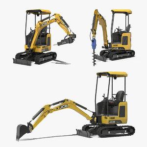mini excavator rigged 3D model