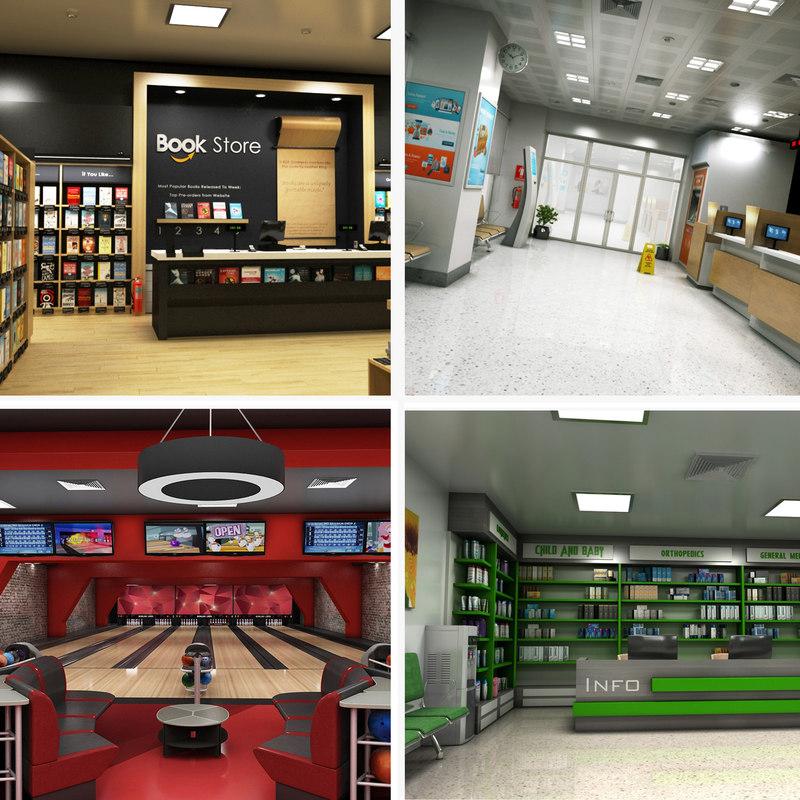 realistic interior 1 bookstore 3D model