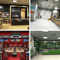 realistic interior 1 bookstore 3D model