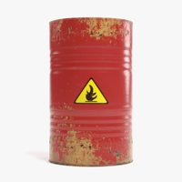 3D flammable barrel contains