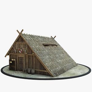 3D medieval viking house model