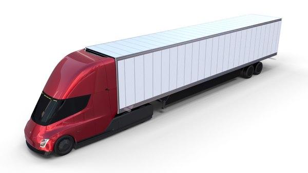 tesla semi truck trailer model