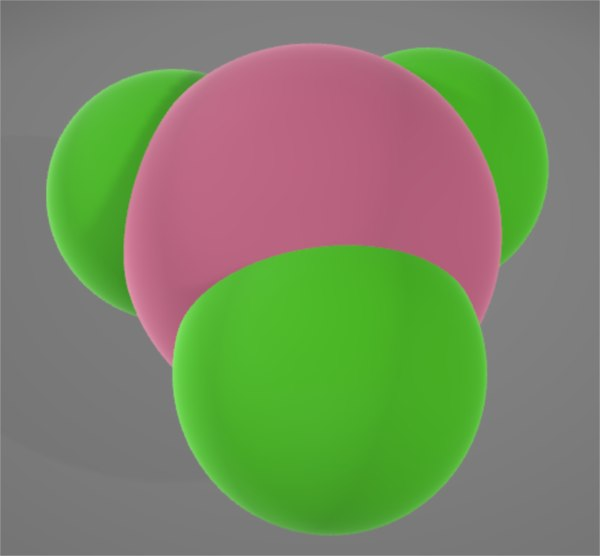 3D model molecule boron triflouride bf3