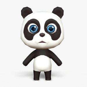 3D cute cartoon panda mobile model