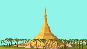 3D cartoon shwedagon pagoda