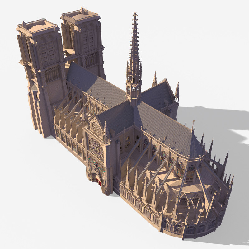 Notre Dame Gothic Cathedral 3d model