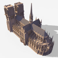 3D notre dame gothic cathedral model
