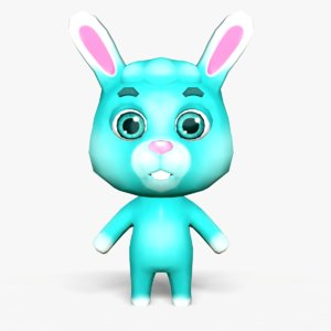 3D cute cartoon rabbit mobile model