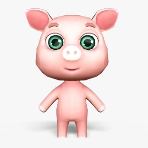cute cartoon pig mobile 3D model