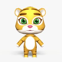 cute cartoon tiger mobile 3D
