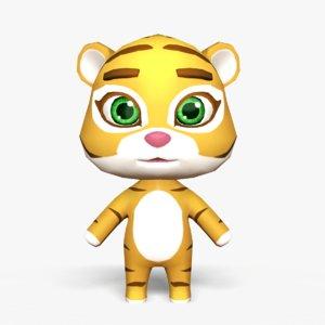 cute cartoon tiger mobile 3D