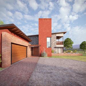 3D model modern house k exterior scene
