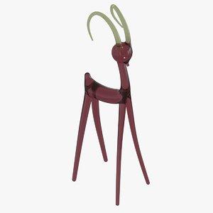 3D antelope glass statuette