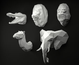 3D animal head lion gorilla