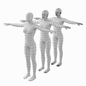 3D base mesh human female model