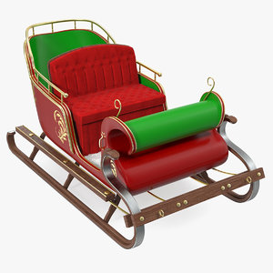 3D santa sleigh fur model