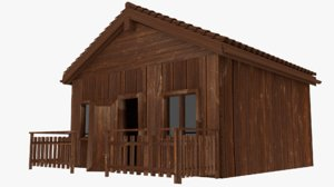 wood cabin house 3D model