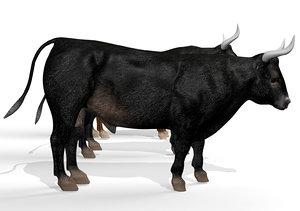 rigged bull animation 3D model