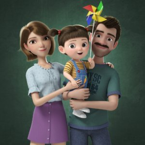 cartoon family rigged 3D model