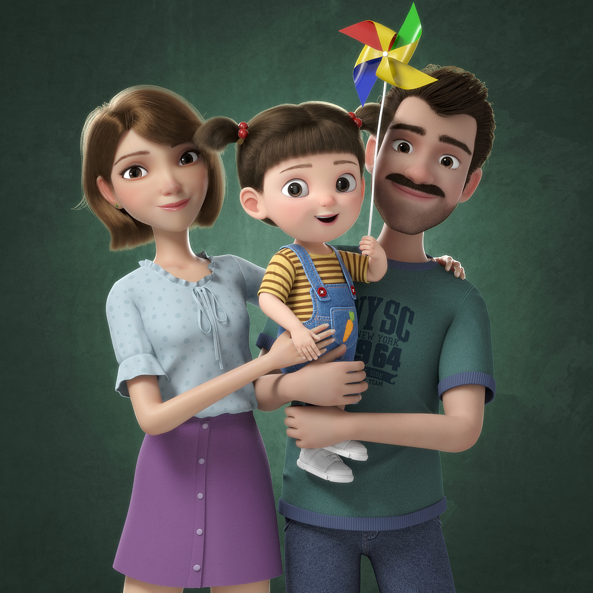 cartoon family rigged 3D model