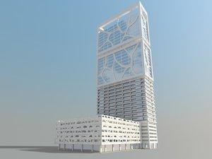 scene modern skyscraper building model