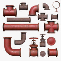 industrial pipes pbr 3D model