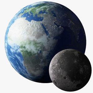 earth moon 3D model