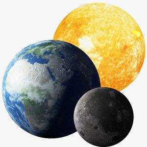 3D model solar sun earth moon