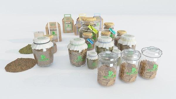 3D jars bottles product