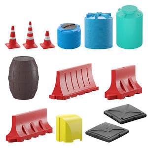 3D water-filled road fences