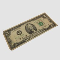 two-dollar bill 3D model