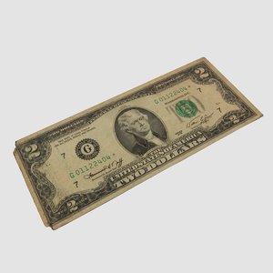 two-dollar bill 3D model