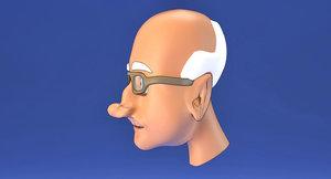 3D model old man face