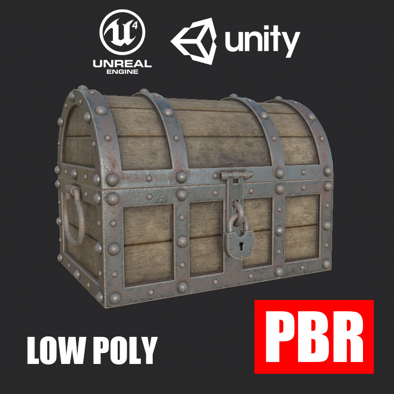 Treasure Chest Low Poly PBR
