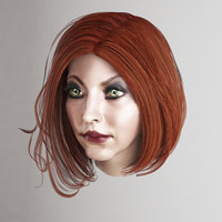 female hair 3 colors 3D model