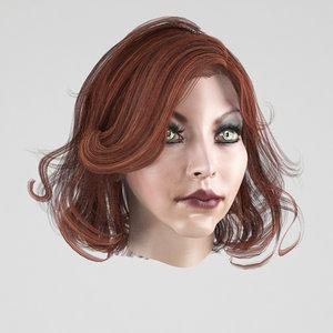 female hair 3 colors 3D
