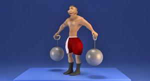 toon muscle man 3D model