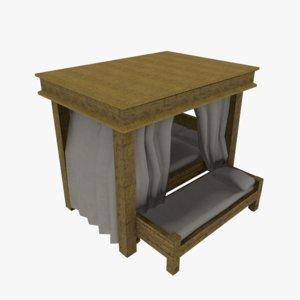 3D model medieval bed