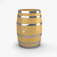 3D wooden barrel bar model
