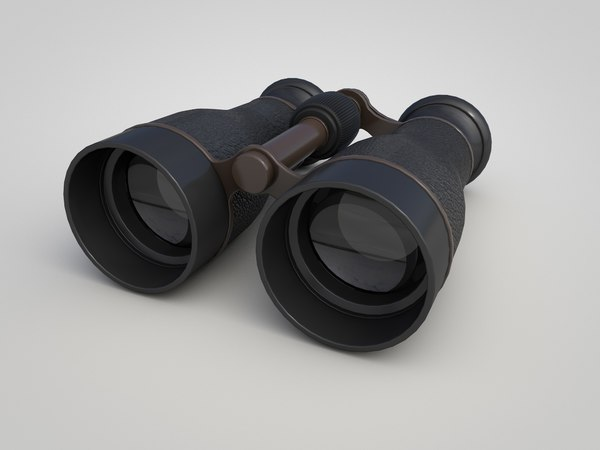old metal military binoculars 3D