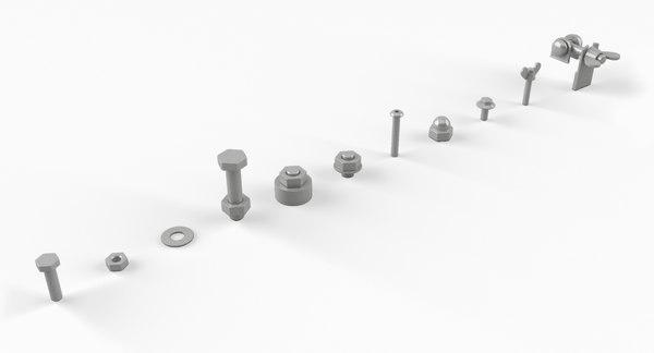 3D set bolts model